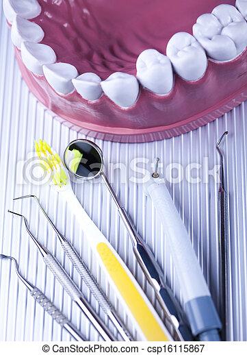 instrumente, nahaufnahme, dental - csp16115867
