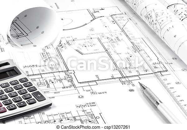instrumenten, architectuur, tekening - csp13207261