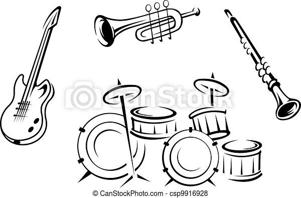 instrumenten, set, muzikalisch - csp9916928
