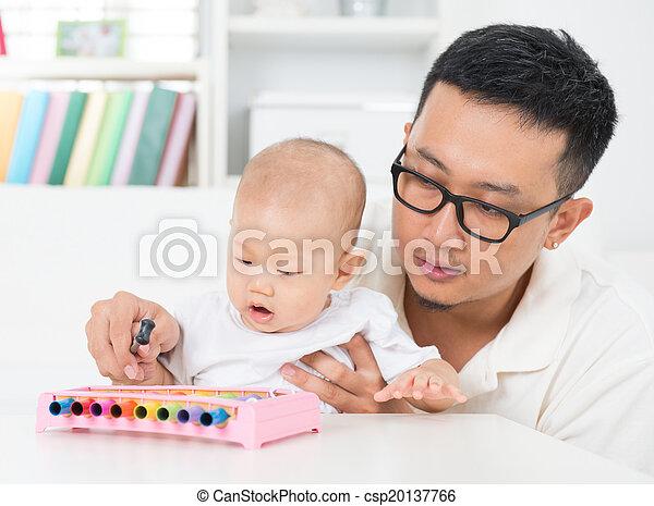 instrumento, baby., pai, toque música - csp20137766