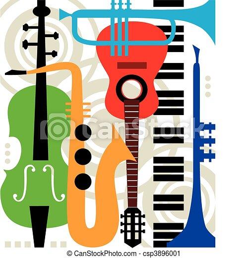 instrumentos, abstratos, vetorial, música - csp3896001