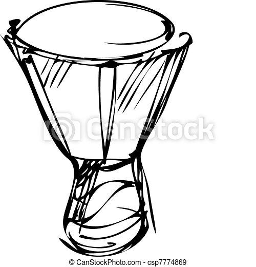 instrumentos, esboço, orquestra, percussão - csp7774869