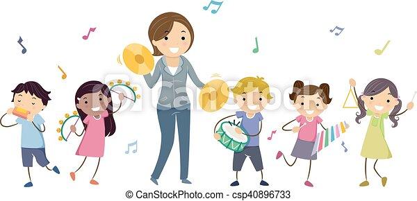 instrumentować, gra, dzieciaki, stickman, nauczyciel - csp40896733
