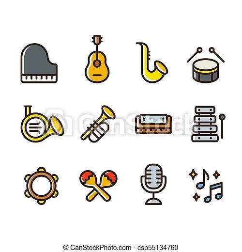 Instruments Musique Icones Style Colore Instruments Simple Instruments Set Ligne Icons Dessin Anime Vecteur Canstock