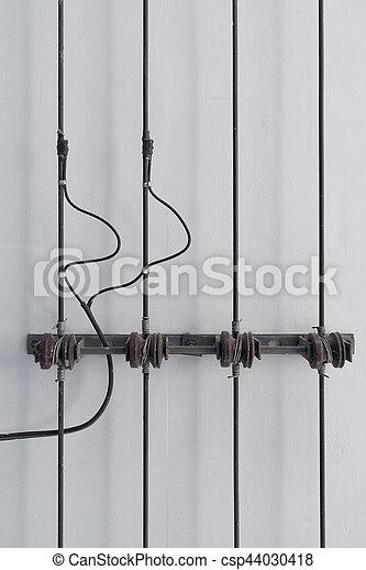 insulators, potencia, ceiling., porcelana, línea, estante - csp44030418