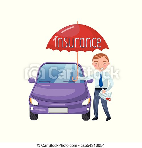 Insurance Agent Standing With Umbrella Protecting Car Auto Insurance Concept Cartoon Vector Illustration