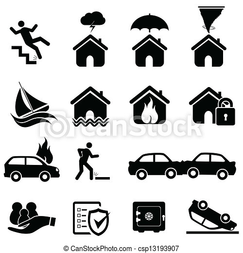 Insurance and disaster icons - csp13193907