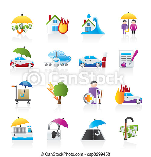 Insurance and risk icons - csp8299458