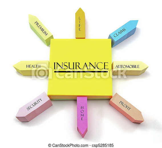 Insurance Concept on Arranged Sticky Notes - csp5285185