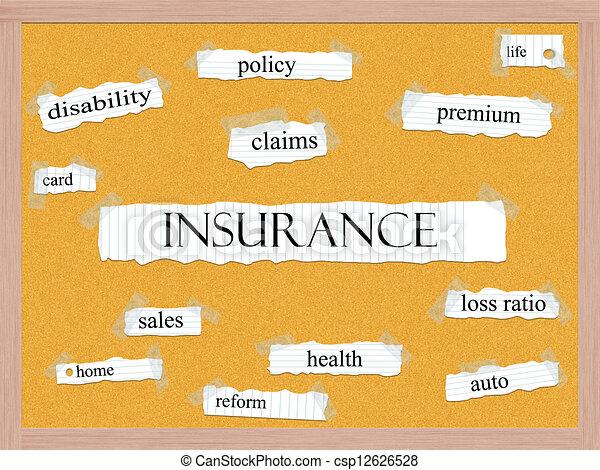 Insurance Corkboard Word Concept - csp12626528