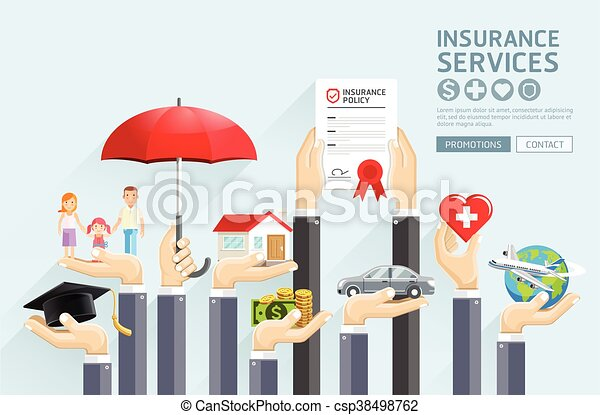 Insurance hands services. Vector Illustrations. - csp38498762