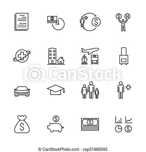 Insurance icon set. Line icons - csp31665093