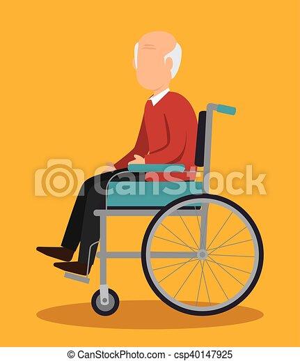 Insurance Man Elderly Healthy Design Vector Illustration Eps 10