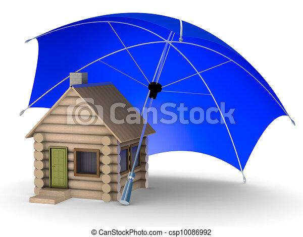 Insurance of habitation. Isolated 3D image on white background - csp10086992