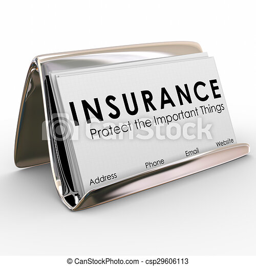 Insurance Policy Coverage Sales Agent Protection Business Cards - csp29606113