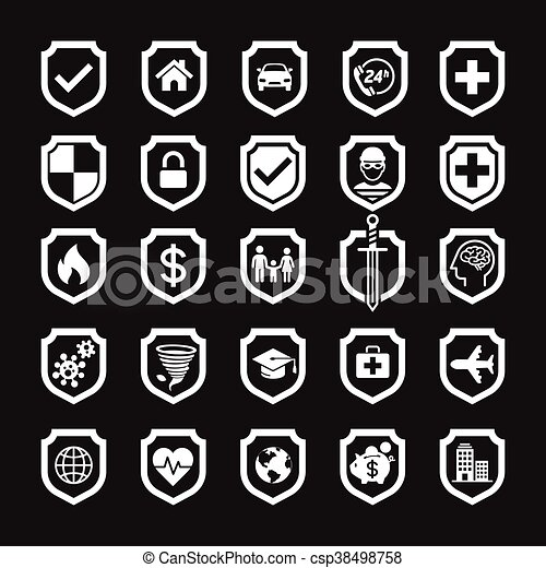 Insurance policy shield icon design. Vector Illustrations. - csp38498758