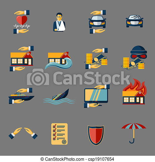 Insurance Security Icons Set - csp19107654