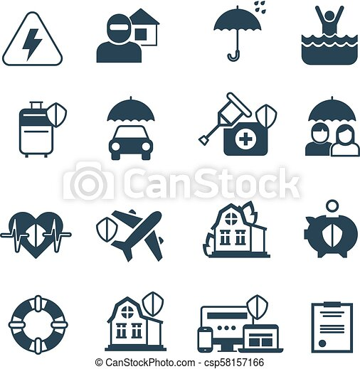 Insurance Vector Icons Protection And Safety Symbols Insurance
