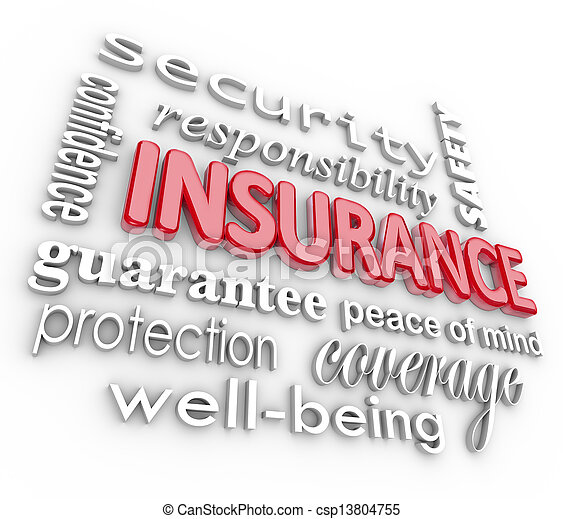 Insurance Word 3D Collage Proteciton Security from Harm - csp13804755