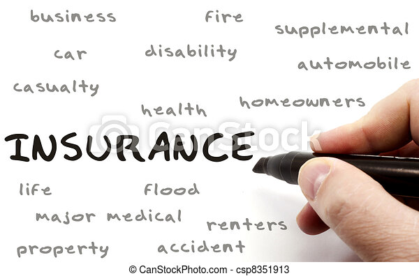 Insurance Word Cloud on Dry Erase Board - csp8351913