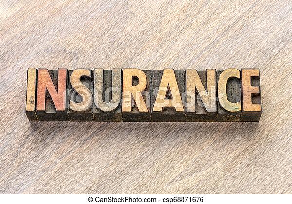 insurance word in letterpress wood type - csp68871676