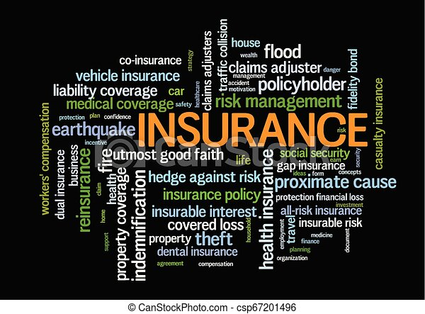 Insurance Word Tag Cloud words related to risk management - csp67201496