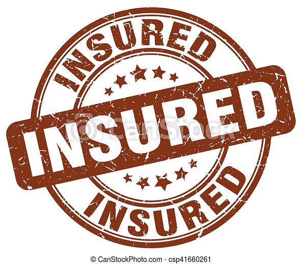 insured brown grunge stamp - csp41660261