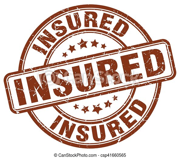 insured brown grunge stamp - csp41660565