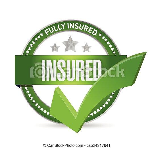 insured check mark seal - csp24317841