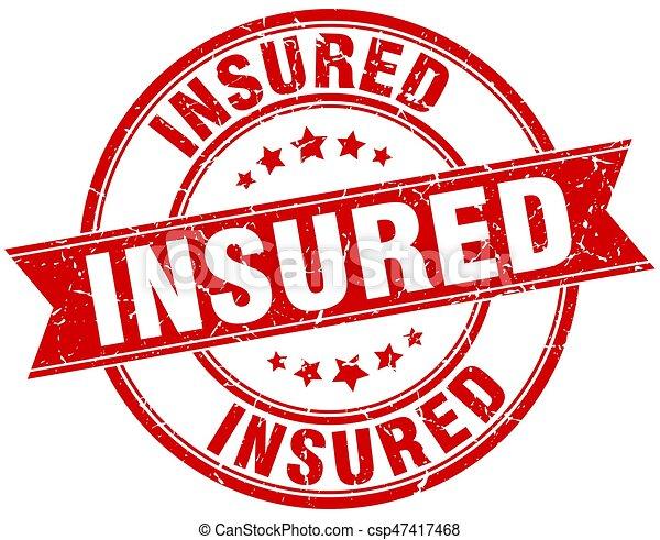 insured round grunge ribbon stamp - csp47417468
