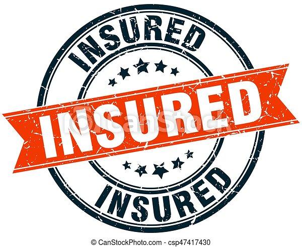 insured round grunge ribbon stamp - csp47417430