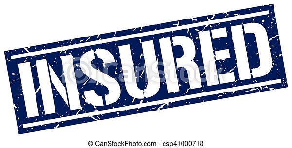 insured square grunge stamp - csp41000718