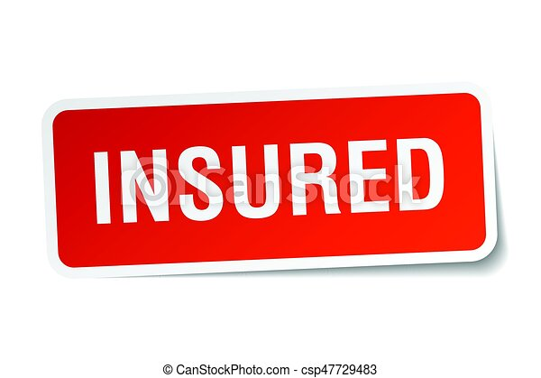 insured square sticker on white - csp47729483