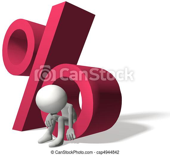 intérêt, mal, élevé, taux, emprunteur, investisseur - csp4944842