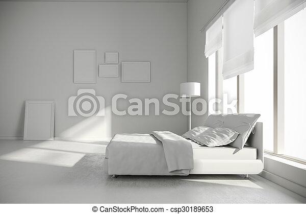 intérieur, 3d, render, chambre à coucher - csp30189653