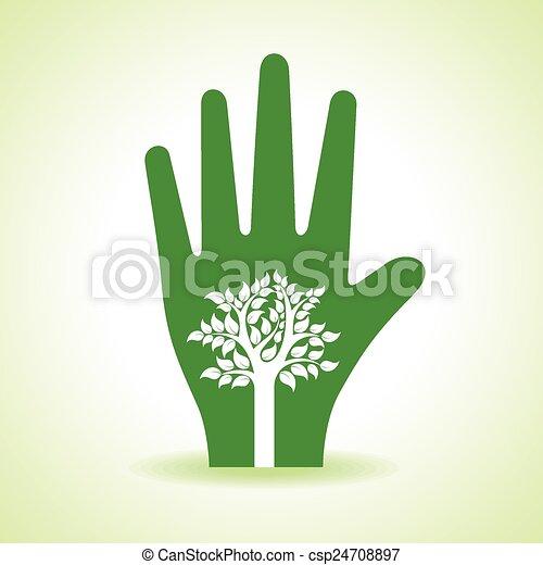 intérieur, arbre, main - csp24708897
