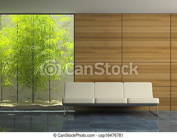 intérieur, attente, salle moderne, partie - csp16476781