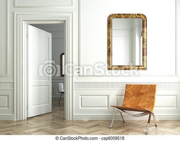 intérieur, blanc, classique, brin, miroirs - csp6009518