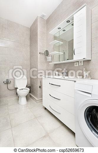 Intérieur, blanc, moderne, salle bains. Intérieur, maison, salle ...