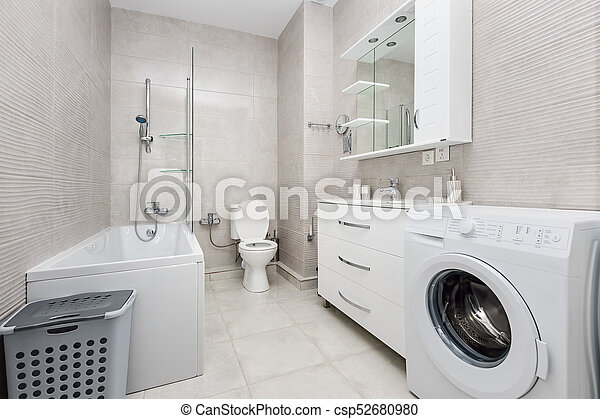 intérieur, blanc, moderne, salle bains