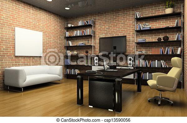intérieur, bureau privé - csp13590056