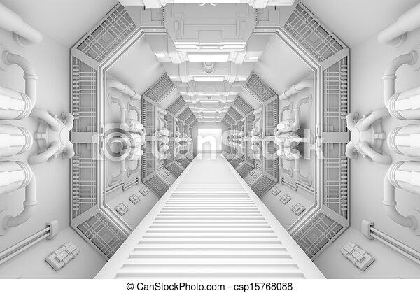 intérieur, centre, vaisseau spatial, vue - csp15768088