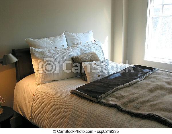 intérieur, chambre à coucher - csp0249335