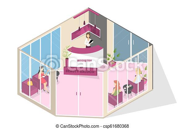 intérieur, charme, spa, salon, réception, beauté - csp61680368