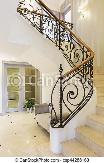 intérieur, clair, escalier, marbre, rampe