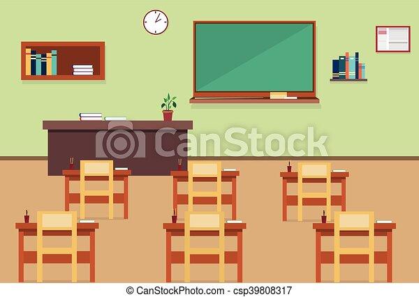 Int rieur classe cole salle vide plat pi ce cole illustration vecteur int rieur classe - Dessin de classe d ecole ...