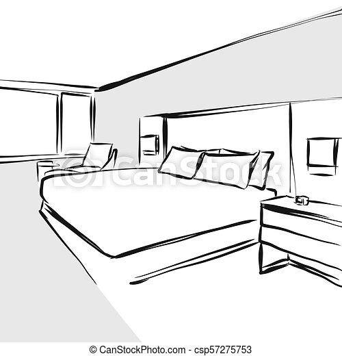 intérieur, concept, conception, dessin, chambre à coucher