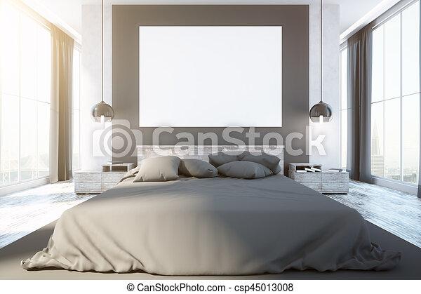 intérieur, contemporain, chambre à coucher