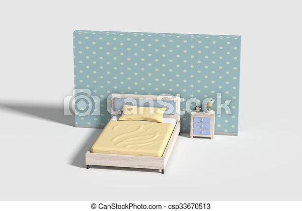 intérieur, couleurs, chambre à coucher, jaune, blanc