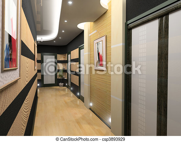int rieur couloir moderne 3d image rendering couloir int rieur. Black Bedroom Furniture Sets. Home Design Ideas